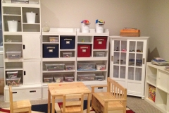 Start early with playroom organization and storage.