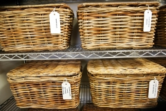 Uniform baskets reduce visual clutter and labels make finding what you need a cinch!