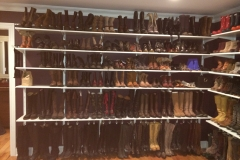 How do you store 250 pairs of boots and shoes?